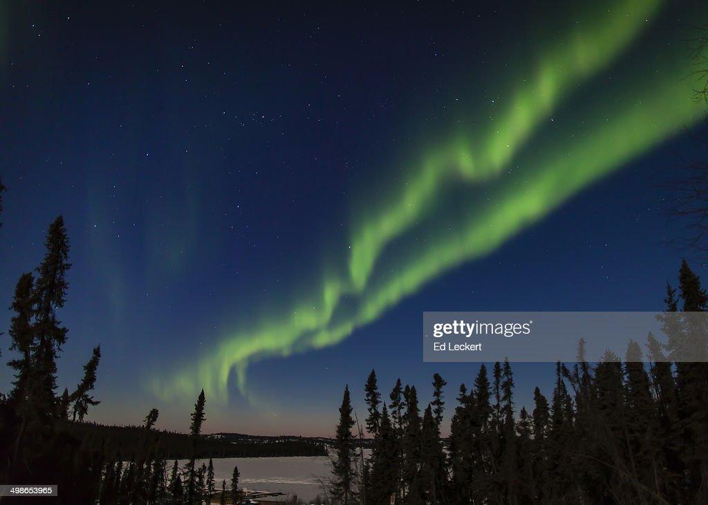 Aurora Over Frozen Lake : Stock Photo