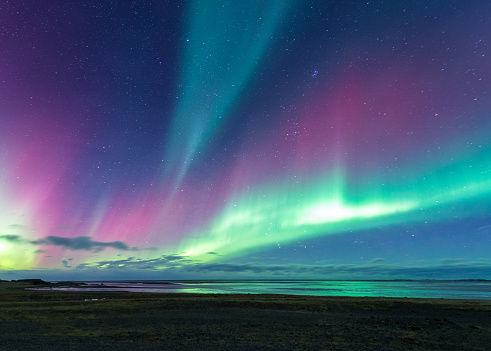 Aurora over sea in Iceland near from Eastfjords - gettyimageskorea