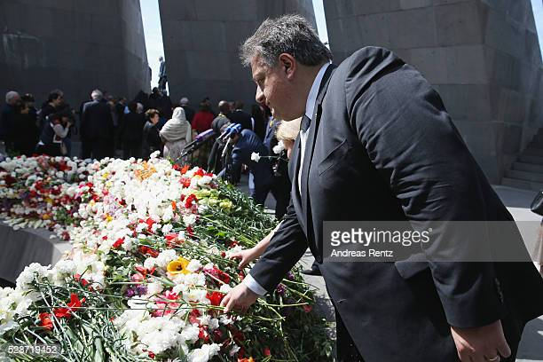 Aurora Prize CoFounder Noubar Afeyan attends the laying of the flowers at the Genocide Memorial in Yerevan Armenia for the 101st anniversary of the...
