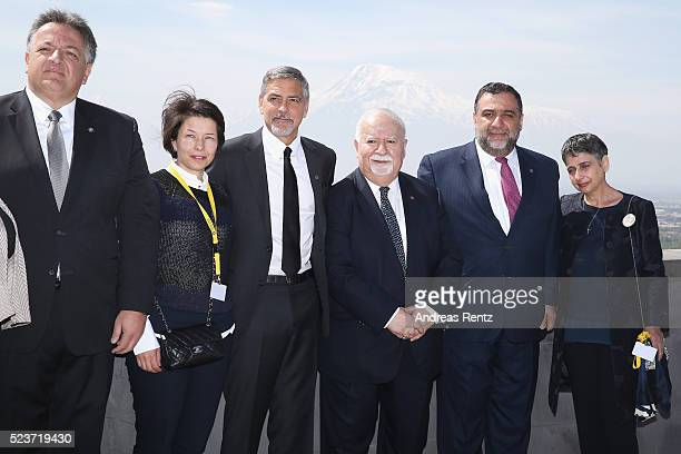 Aurora Prize CoFounders Noubar Afeyan Ruben Vardanyan and Vartan Gregorian attend the laying of the flowers at the Genocide Memorial in Yerevan...
