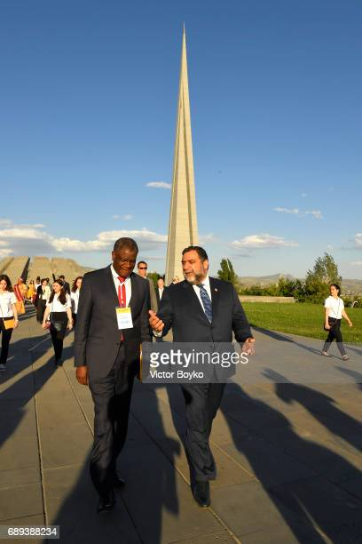 Aurora Prize Finalist Dr Denis Mukwege and Aurora Humanitarian Initiative CoFounder Ruben Vardanyan visit the Tsitsernakaberd Armenian Genocide...
