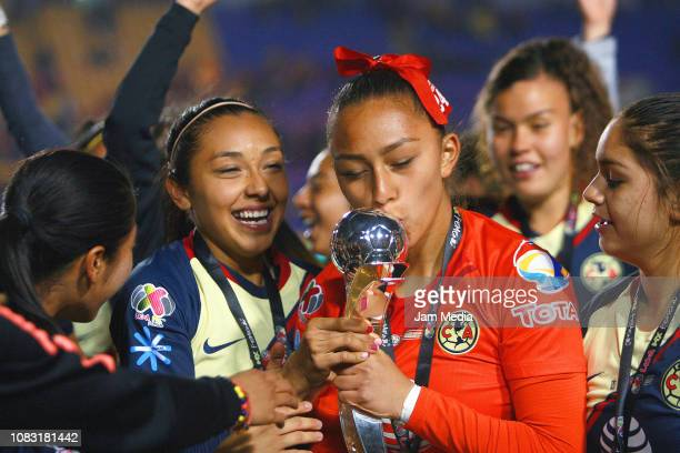 Aurora Santiago of America kisses the champions trophy the final second leg match between Tigres UANL and America as part of the Torneo Apertura 2018...