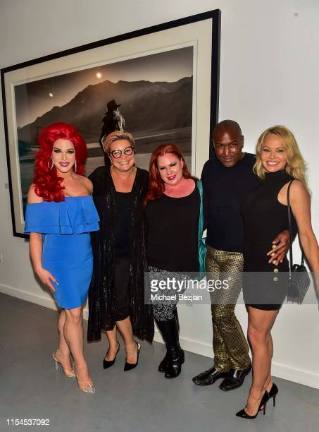 Aurora Sexton Tracie MayWagner and Pamela Anderson attend Maddox Gallery Los Angeles Presents Pamela Anderson by David Yarrow at Maddox Gallery on...