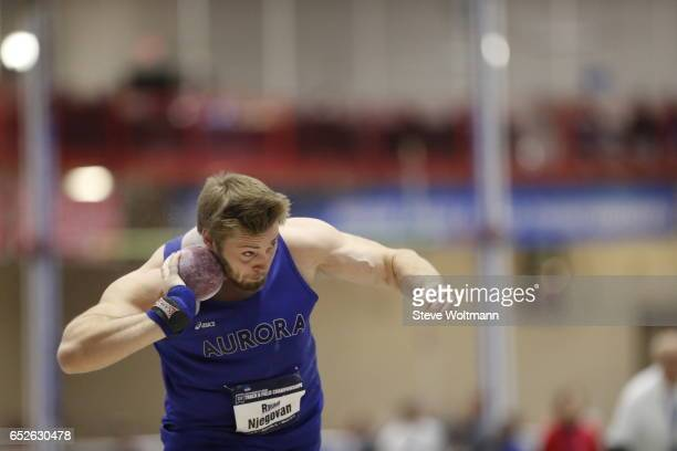 Aurora University's Ryan Njegovan is the men's Shot Put champion at the Division III Mens and Womens Indoor Track and Field Championship held at the...