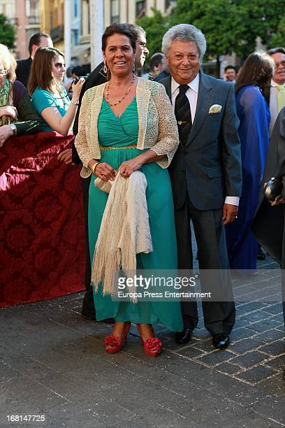 Aurora Vargas and Pan Sequito attend the wedding of Fernando Solis and Eva Morejon at Divino Salvador Church on May 4 2013 in Seville Spain