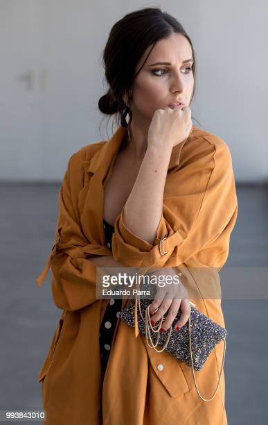 Aurora wears a Purificacion Garcia handbag Mango shoes Forever21 jacket and Zara dress during the Mercedes Benz Fashion Week Spring/Summer 2019 at...