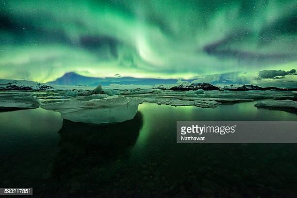 Aurora with Iceberg at Jokulsarlon Iceland