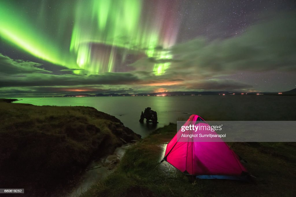 Aurora with Tent Hvitserkur Iceland  Stock Photo & Aurora With Tent Hvitserkur Iceland Stock Photo | Getty Images