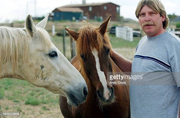 COEXCELGary Dahl president of USDA inspectors union AFGE Local 925 American Federation of Government Employees at his house with his horses 'Spider'...