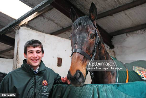 Auroras Encore in his stable with winning jockey Ryan Mania during the winners photocall at Craiglands Farm, Bingley.