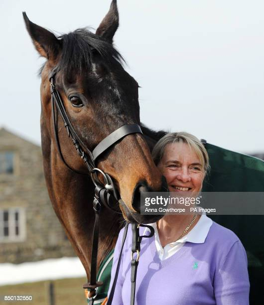 Auroras Encore with winning trainer Sue Smith during the winners photocall at Craiglands Farm, Bingley.