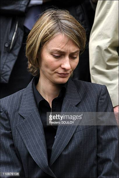 Aurore Amaury at the funeral of Philippe Amaury at the church of St Francis Xavier in Paris France on May 31st 2006