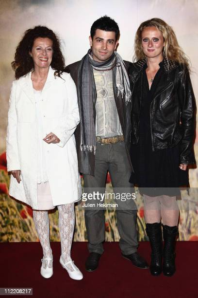 Aurore Auteuil her mother Anne Jousset and her boyfriend Jimmy attend 'La Fille du Puisatier' Paris premiere at Cinema Gaumont Marignan on April 14...