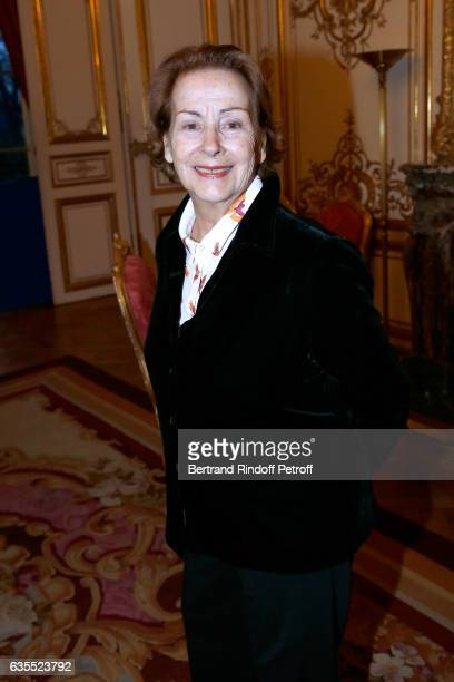 Aurore Chabrol attends Francois Berleand is elevated to the rank of 'Officier de la Legion d'Honneur' at Hotel de Matignon on February 15 2017 in...