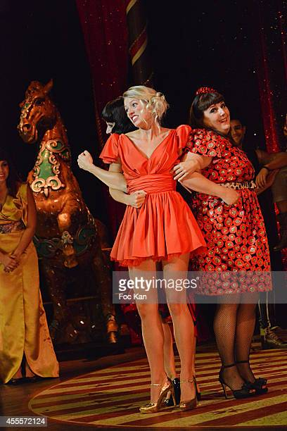 Aurore Delplace and Lola Ces perform during the 'Love Circus' Press Preview At the Folies Bergeres on September 16 2014 in Paris France