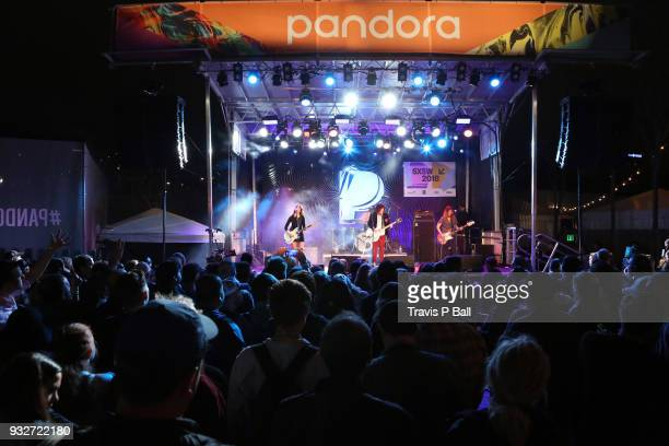 Aurore Ounjian James Alex Dan Crotts and Tierney Tough of Beach Slang perform onstage at Pandora during SXSW at Stubb's BarBQ on March 15 2018 in...