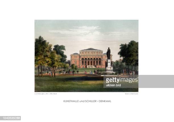 ãHamburg und seine UmgebungenÒ von Wilhelm Heuer Blick von Westen auf die Kunsthalle und das Schillerdenkmal das einer Straßenkreuzung weichen musste...