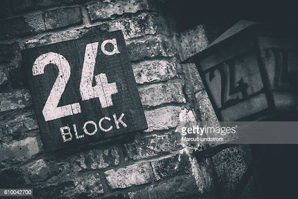 auschwitz block 24 - nazi germany stock photos and pictures