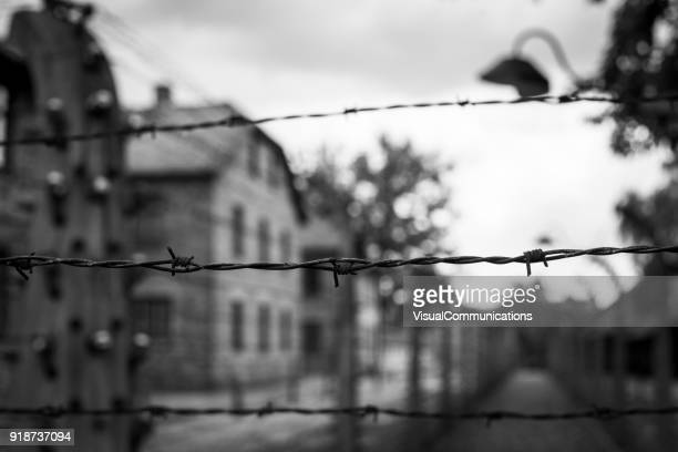 auschwitz concentration camp. - nazism stock pictures, royalty-free photos & images