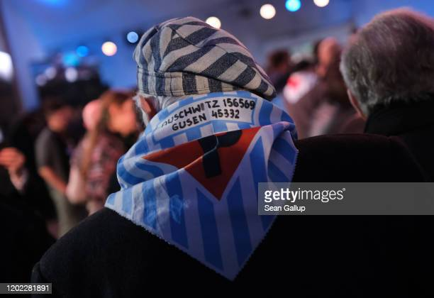 Auschwitz concentration camp survivors and their families attend the official ceremony to mark the 75th anniversary of the liberation of the...
