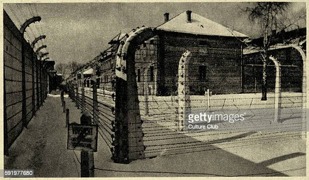 Auschwitz concentration camp view of the 11th barrack with barbed wire Source Museum of Owicim Poland Photos taken by guard or SS Publication date of...