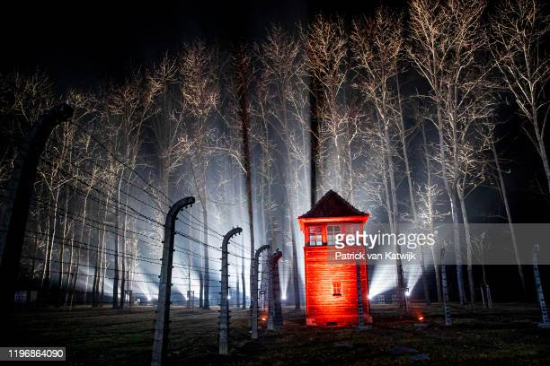 Auschwitz monument by night during the commemoration of the 75th anniversary of the Auschwitz liberation on January 27, 2020 in Auschwitz, Poland.