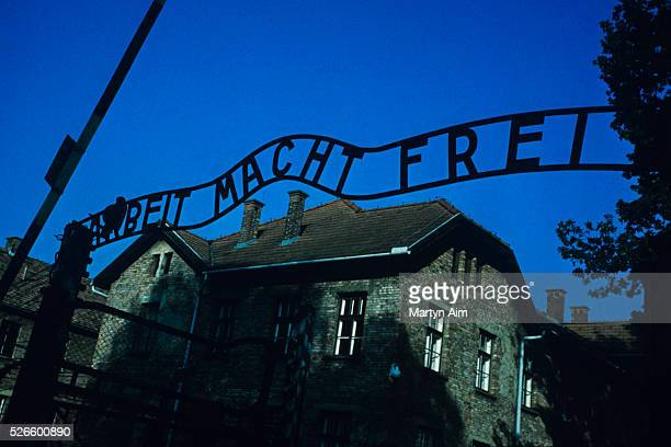 Auschwitz Nazi concentration camp sign reads Arbeit Macht Frei or Work Is Freedom