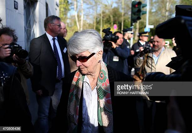Auschwitz survivor and a joint plaintiff Hedy Bohm arrives ahead to a trial of former Nazi death camp officer Oskar Groening on April 21 2015 at a...