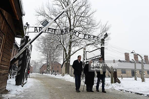 Auschwitz survivor Mathias Hirsch from Switzerland looks at pictures of his young ca=marads returns to Auschwitz for the 70th Anniversary of the Camp...