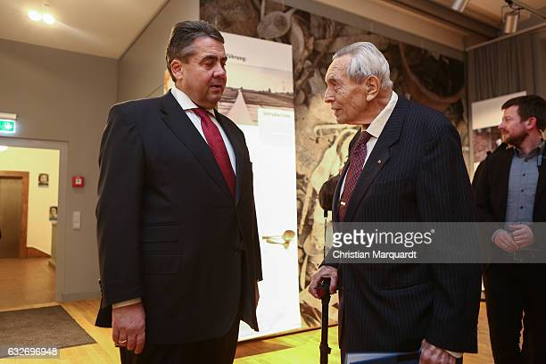 Auschwitz survivor Professor Felix Kolmer and German Vice Chancellor and Economy and Energy Minister Sigmar Gabriel, who is also Chairman of the...