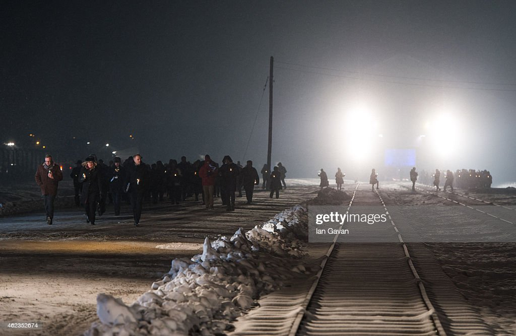 Auschwitz survivors and families visit the Birkenau Memorial carrying candles on January 27, 2015 in Oswiecim, Poland. International heads of state, dignitaries and over 300 Auschwitz survivors are attending the commemorations for the 70th anniversary of the liberation of Auschwitz by Soviet troops on 27th January, 1945. Auschwitz was among the most notorious of the concentration camps run by the Nazis during WWII and whilst it is impossible to put an exact figure on the death toll it is alleged that over a million people lost their lives in the camp, the majority of whom were Jewish.
