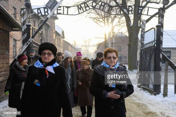Auschwitz survivors are seen crossing the famous gate during 74th anniversary of Auschwitz liberation and Holocaust Remembrance Day. The biggest...