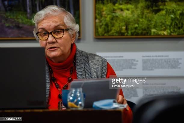 Auschwitz-Birkenau survivor Lidia Maksymowicz speaks to an international audience about her life experience via Zoom platform at the Galicia Jewish...