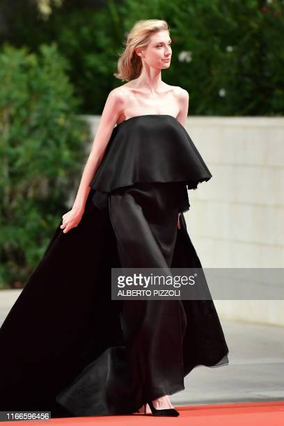 """Ausralian actress Elizabeth Debicki arrives for the screening of the film """"The Burnt Orange Heresy"""" during the closing night of the 76th Venice Film..."""