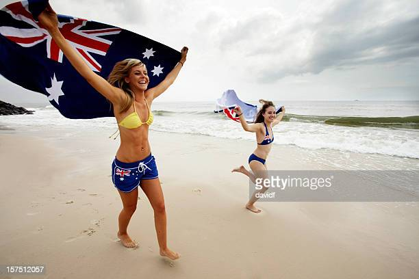 aussie beach girls - australia day stock pictures, royalty-free photos & images