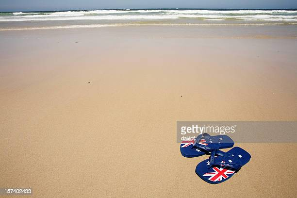 aussie beach thongs - australia day stock pictures, royalty-free photos & images