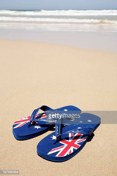 aussie beach thongs - australian flag stock pictures, royalty-free photos & images