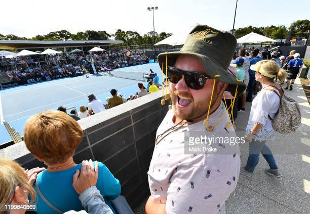 Aussie fan watching Danielle Collins of the USA in her match against Belinda Bencic of Switzerland during day five of the 2020 Adelaide International...