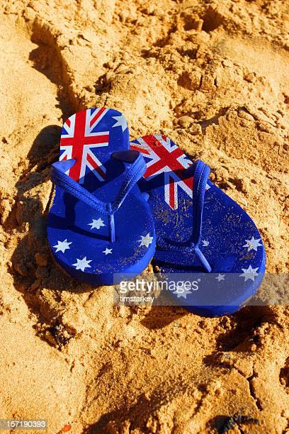 aussie thongs on a beach