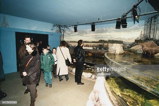 Ausstellungsraum im Aquarium Timmendorfer Strand in dem Besucher eine künstlich angelegte Flußlandschaft betrachten