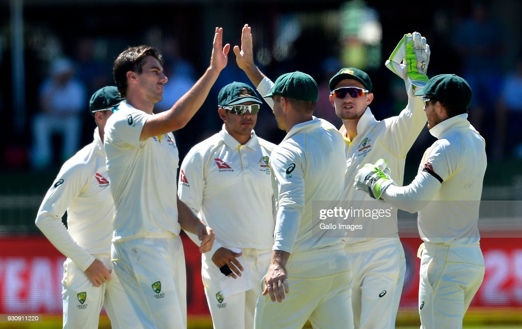 Austalia celebrate the wicket of Hashim Amla of South Africa during day 4 of the 2nd Sunfoil Test match between South Africa and Australia at St Georges Park on March 12, 2018 in Port Elizabeth, South Africa.