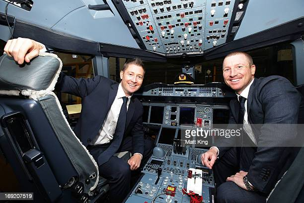 Austalian captain Michael Clarke and vicecaptain Brad Haddin pose in the cockpit of a Qantas A380 during the Cricket Australia Ashes official team...