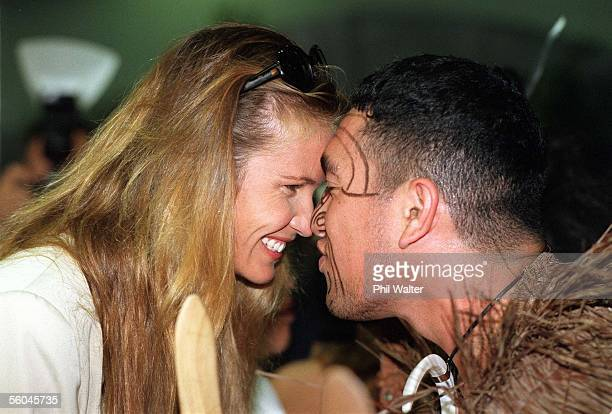 Austalian super model Elle MacPherson Hongi's with Lincoln Savage from the Te Mataarae o Rehua Maori culture group from Rotorua upon her arrival at...
