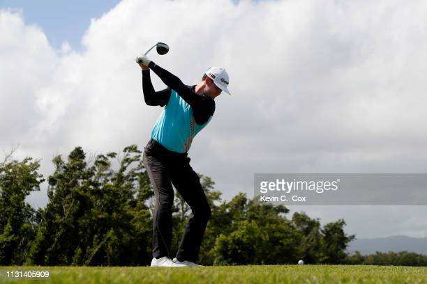 Austen Truslow plays his shot from the 18th tee during the second round of the Puerto Rico Open at Coco Beach Golf and Country Club on February 22...