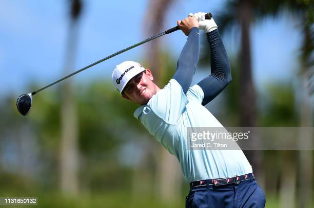 Austen Truslow plays his shot from the second tee during the third round of the Puerto Rico Open at Coco Beach Golf and Country Club on February 23...