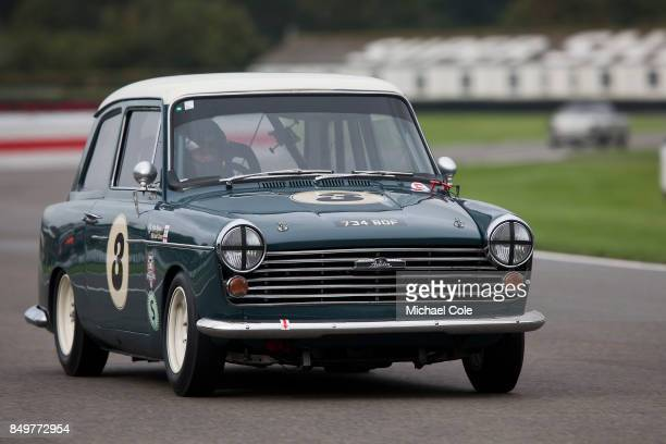Austin A40 entrant Rob Myers driven by Michael Caine in the St Mary's Trophy at Goodwood on September 8th 2017 in Chichester England