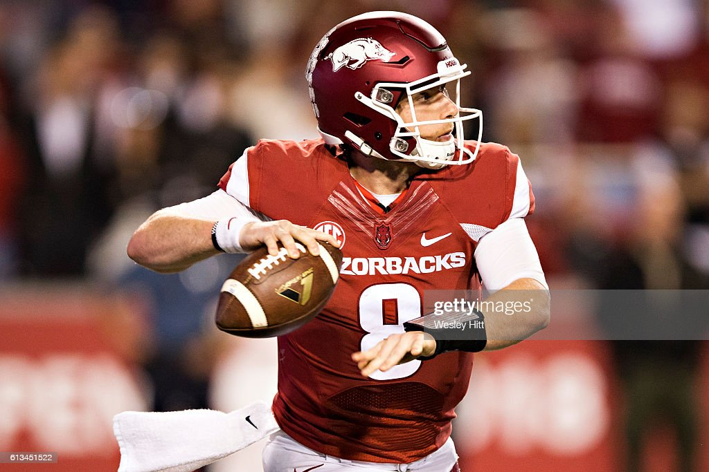 Austin Allen #8 of the Arkansas Razorbacks throws a pass during a game against the Alabama Crimson Tide at Razorback Stadium on October 8, 2016 in Fayetteville, Arkansas. The Crimson Tide defeated the Razorbacks 49-30.