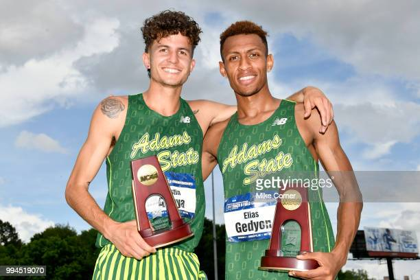 Austin Anaya and Elias Gedyon of Adam State University celebrate during the Division II Men's and Women's Outdoor Track and Field Championships held...