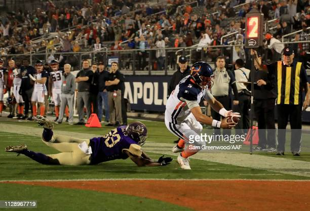Austin Appleby of Orlando Apollos runs for yardage during the Alliance of American Football game against the Atlanta Legends at Spectrum Stadium on...