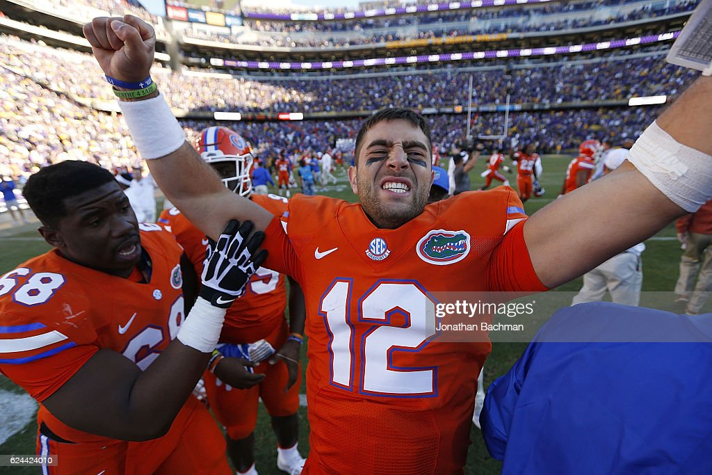 Austin Appleby #12 of the Florida Gators celebrates after a game against the LSU Tigers at Tiger Stadium on November 19, 2016 in Baton Rouge, Louisiana. Florida won 16-10.